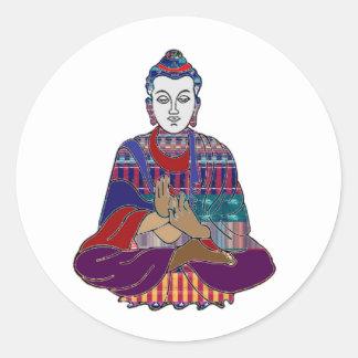 Pegatina Redonda Cura de la adoración de la paz de la religión del
