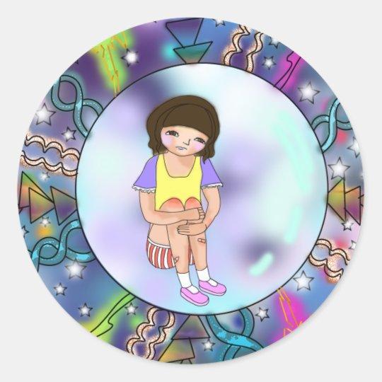Pegatina Redonda Cute Girl in Bubble