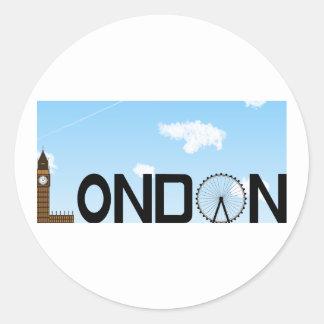Pegatina Redonda D3ia del horizonte de Londres