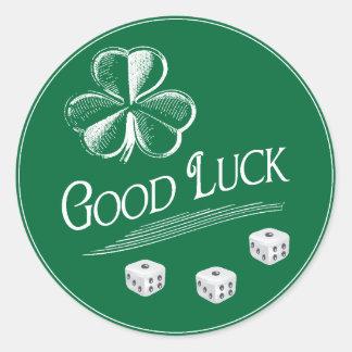 Pegatina Redonda Dados verdes de Bunco de la buena suerte