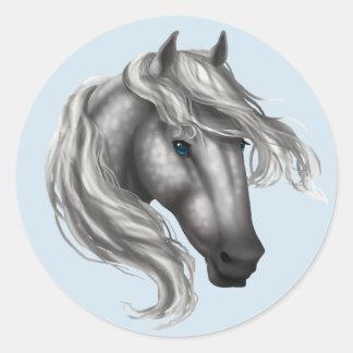 Pegatina Redonda Dapple la cabeza de caballo gris