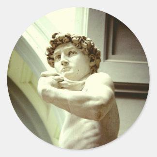 Pegatina Redonda David - la imagen eterna de Florencia