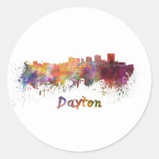 Pegatina Redonda Dayton skyline in watercolor