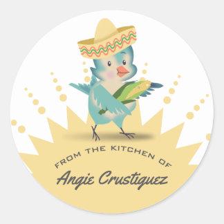 Pegatina Redonda De la cocina del maíz mexicano del cocinero del