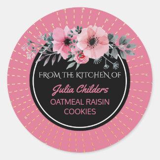 Pegatina Redonda De la cocina del rosa conocido de la hornada