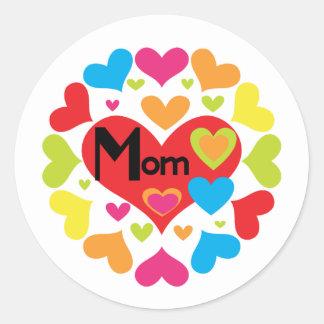 Pegatina Redonda De los corazones camisetas y regalos de la mamá a