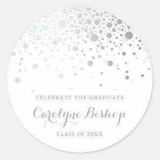 Pegatina Redonda De plata graduación personalizada falso confeti