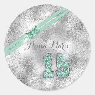 Pegatina Redonda Décimo quinta verde menta ID382 del cumpleaños del