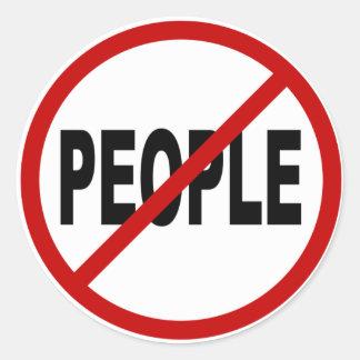 Pegatina Redonda Declaración permitida gente de la muestra de /No