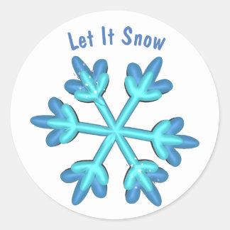 Pegatina Redonda Dejáis le nevar con los copos de nieve 3D