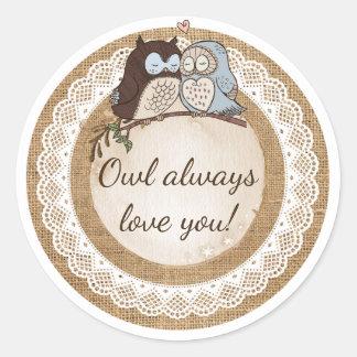 Pegatina Redonda Del búho amor siempre usted boda casual