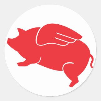 Pegatina Redonda 🐷 del cerdo del vuelo