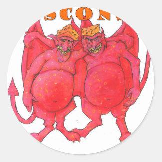 Pegatina Redonda Demonios de Wisconsin Cheesehead