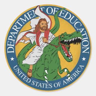 Pegatina Redonda Departamento de la educación - Jesús en un
