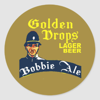 Pegatina Redonda Descensos de oro/cerveza inglesa de Bobbie