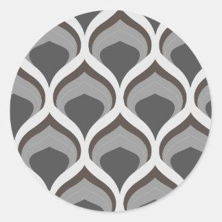 Pegatina Redonda descensos geométricos grises