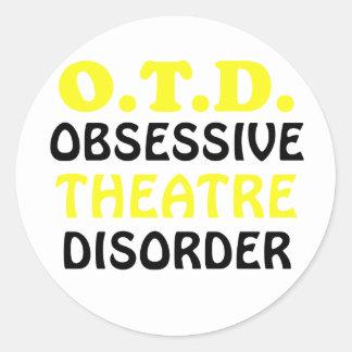 Pegatina Redonda Desorden obsesivo del teatro de OTD