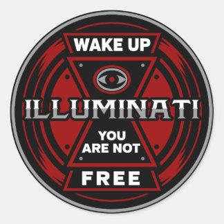 Pegatina Redonda Despiértele no son Illuminati libre