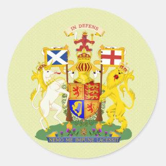 Pegatina Redonda Detalle del escudo de armas de Escocia