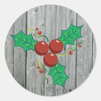Pegatina Redonda Día de fiesta de madera rústico del navidad de las