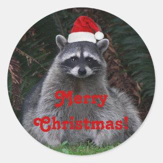 Pegatina Redonda Día de fiesta del mapache del navidad