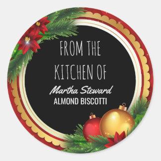 Pegatina Redonda Día de fiesta del navidad de la cocina del nombre
