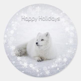 Pegatina Redonda Día de fiesta del navidad - Fox de la nieve con