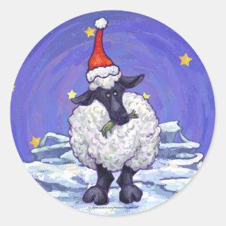Pegatina Redonda Día de fiesta festivo de las ovejas
