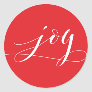Pegatina Redonda Día de fiesta rojo del navidad de la alegría