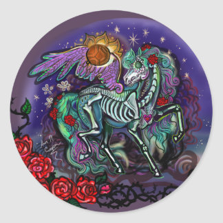 Pegatina Redonda Día de Muertos Horse