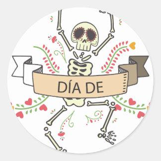 Pegatina Redonda Diámetro DE Festival de los muertos