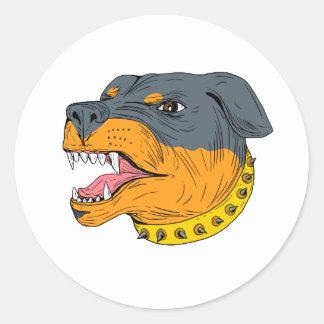 Pegatina Redonda Dibujo agresivo de la cabeza de perro guardián de