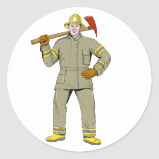 Pegatina Redonda Dibujo americano del hacha del fuego del bombero