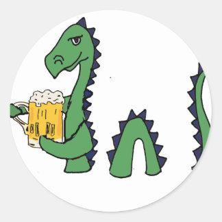 Pegatina Redonda Dibujo animado de consumición de la cerveza del