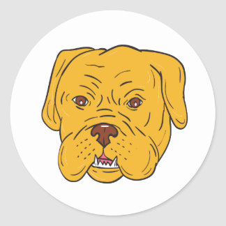 Pegatina Redonda Dibujo animado de la cabeza de perro de Burdeos