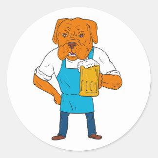 Pegatina Redonda Dibujo animado de la mascota de la taza del