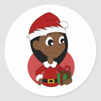 Pegatina Redonda Dibujo animado del chica del navidad