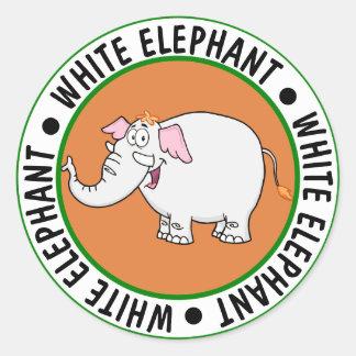 Pegatina Redonda Dibujo animado del intercambio del elefante blanco
