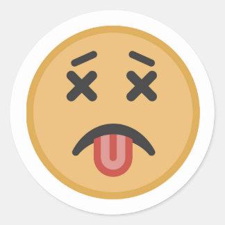 Pegatina Redonda Dibujo animado muerto divertido de Emoji de la