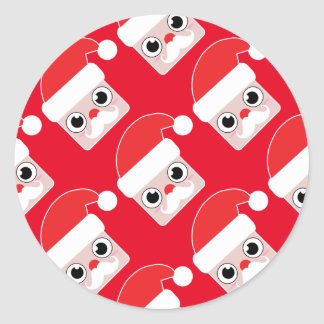 Pegatina Redonda Dibujo animado múltiple Papá Noel