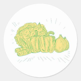 Pegatina Redonda Dibujo de la cebolla del pimiento de Brocolli