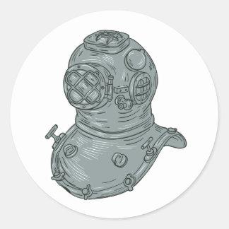 Pegatina Redonda Dibujo del casco del salto de la escuela vieja