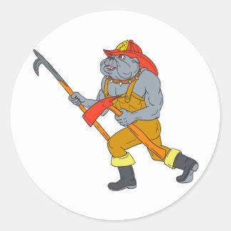 Pegatina Redonda Dibujo del hacha del fuego de Pike poste del