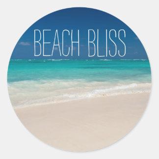 Pegatina Redonda Dicha hermosa de la playa