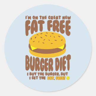 Pegatina Redonda Dieta sin grasa de la hamburguesa