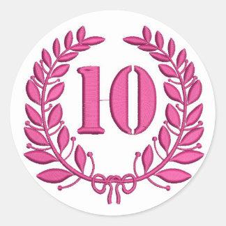 Pegatina Redonda diez laureles - jubileo, imitación del bordado
