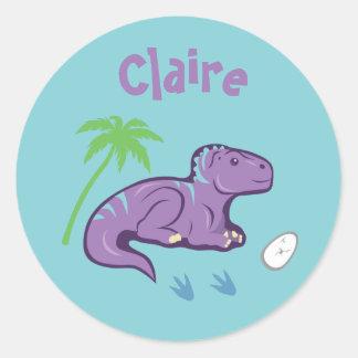 Pegatina Redonda Dinosaurio Iguanodon del bebé