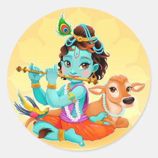 Pegatina Redonda Dios indio de Krishna que juega el ejemplo de la