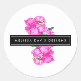 Pegatina Redonda Diseñador floral del manojo de los Peonies de la