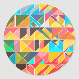Pegatina Redonda Diseño abstracto triangular
